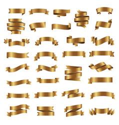 golden ribbon set isolated white background vector image