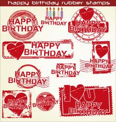 happy birthday grunge stamp vector image