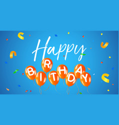 Happy birthday party balloon web banner card vector