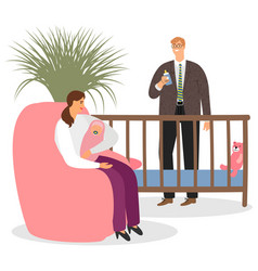 happy parenthood mother father baby vector image