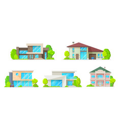 houses cottages villas and bungalow icons vector image