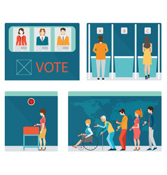 Info graphic of voting booths with people waiting vector