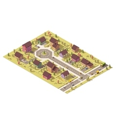 Isometric low poly suburb vector