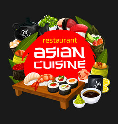 japanese cuisine sushi restaurant menu vector image