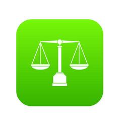 justice scale icon digital green vector image