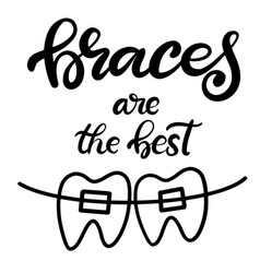 Lettering with braces on teeth vector