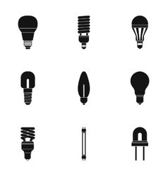 Light icons set simple style vector image