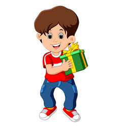 little boy holding a gift box vector image