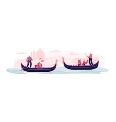 love in venice happy loving couples in gondolas vector image