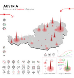 Map austria epidemic and quarantine emergency vector