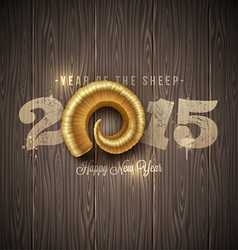New years greeting with golden horn of a sheep vector image