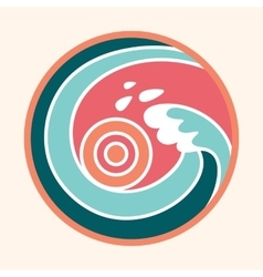 Ocean wave and sun logo vector image