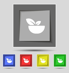 Organic food icon sign on original five colored vector