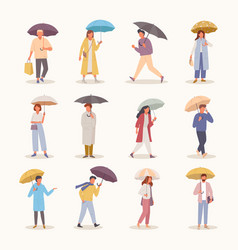 people with umbrellas set characters walk vector image