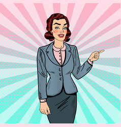 pop art business woman pointing on copy space vector image
