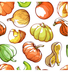pumpkins hand drawn color seamless pattern vector image