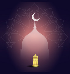 ramadan kareem with mosque lantern and geometry vector image