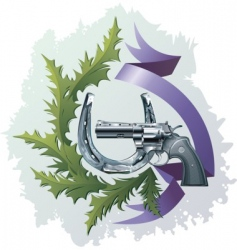 revolver and horseshoe vector image vector image