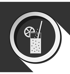 Round icon - carbonated drink straw and citrus vector