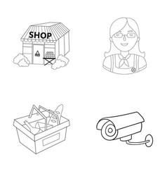 Salesman woman basket plastic supermarket set vector
