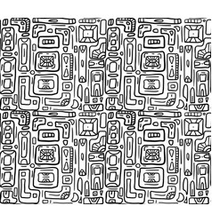 seamless black and white texture with tribal vector image