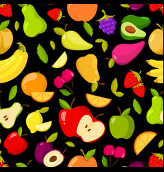 seamless summer fruits pattern on a black vector image