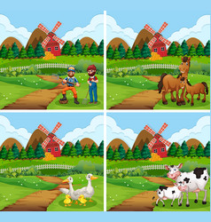 Set different farm scenes with animals and vector