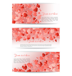 set of banners with hearts confetti vector image
