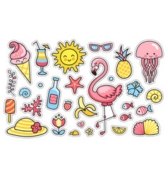 set of cartoon summer stickers patches badges vector image