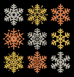 Set of color glittering snowflakes over black vector