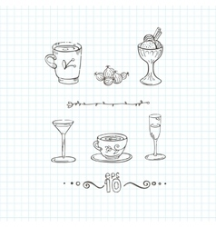 Set of cups mugs and glasses with a vector