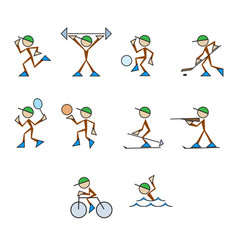 set of stylized sportsmen vector image