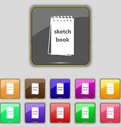 Sketchbook icon sign Set with eleven colored vector