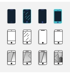 smartphone icons set vector image