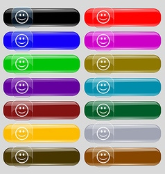 Smile Happy face icon sign Set from fourteen vector image