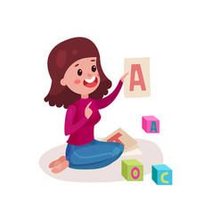 Smiling female teacher sitting on the floor vector