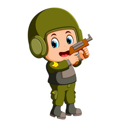 soldier with handgun vector image