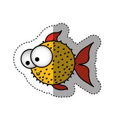 sticker colorful silhouette blowfish aquatic vector image vector image