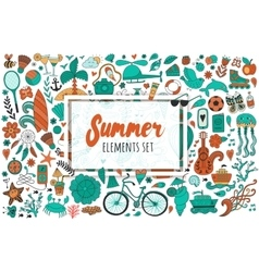 Summer set doodle elements Travel drawing vector image vector image