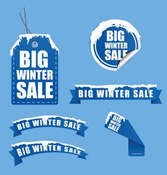tag winter sale with snow on it in blue vector image
