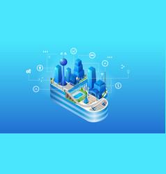 the concept of intelligent smart cloud city vector image