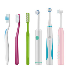 toothbrushes brush for teeth mechanical and vector image