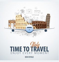 Travel to italy time to travel banner with vector