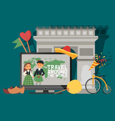 traveling travel around world people vector image