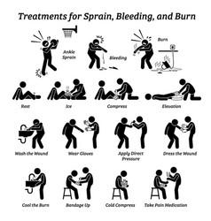 treatments for sprain bleeding and burn stick vector image