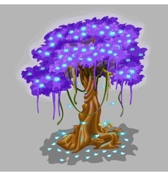 Tree with violet foliage and blue falling leaves vector