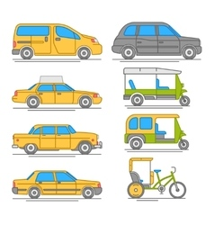 Trendy linear taxi transport icons vector image