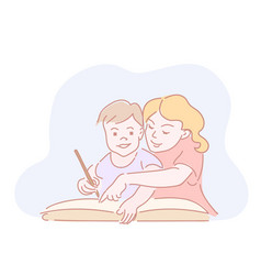 two kids drawing homework in big book vector image