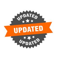 Updated sign updated orange-black circular band vector