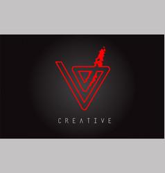 v monogram letter logo design brush paint stroke vector image